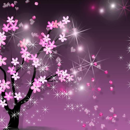 Sparkling purple Sakura flower vector wallpaper