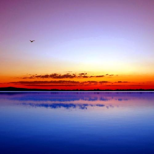 Spectacular blue and red ocean horizon wallpaper
