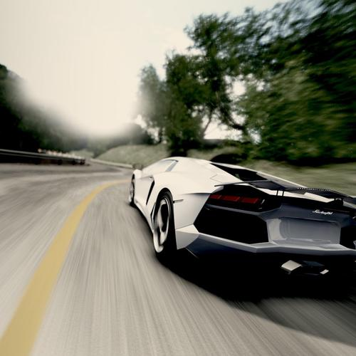 Speed up white Lamborghini