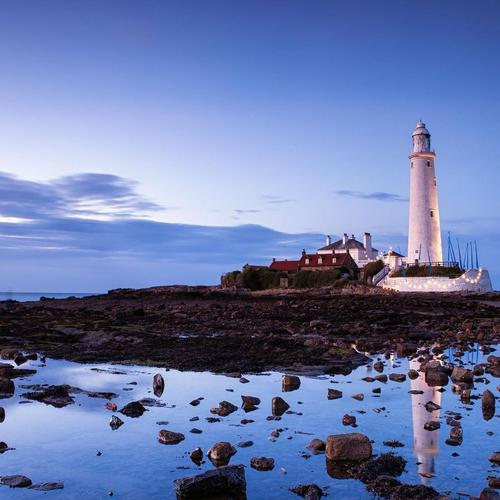 St Marys Lighthouse riflessa in Pozza di marea sfondo