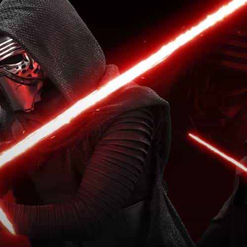 starwars kylo ren dark red lightsaber art illustration