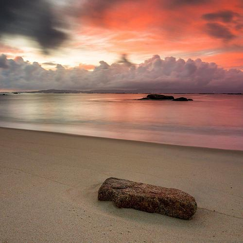 Stone Cloud Sunset Ocean бряг тапети
