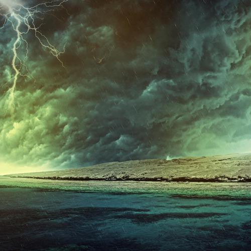 Storm over the dark sea