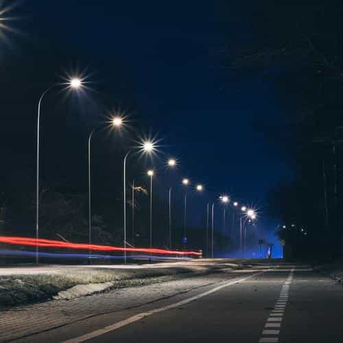 street lights dark night car city