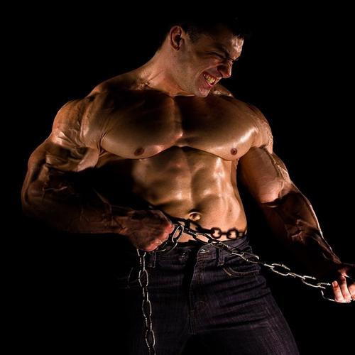 Strong bodybuilder workout