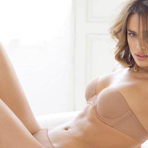 Stunning beautiful Irina Shayk in skin tone lingerie