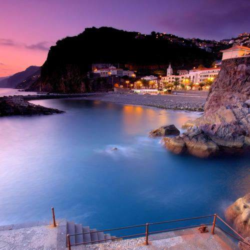 Stunning Ponta Do Sol bay in sunset