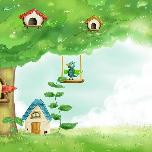 Summer birds birdhouses wallpaper
