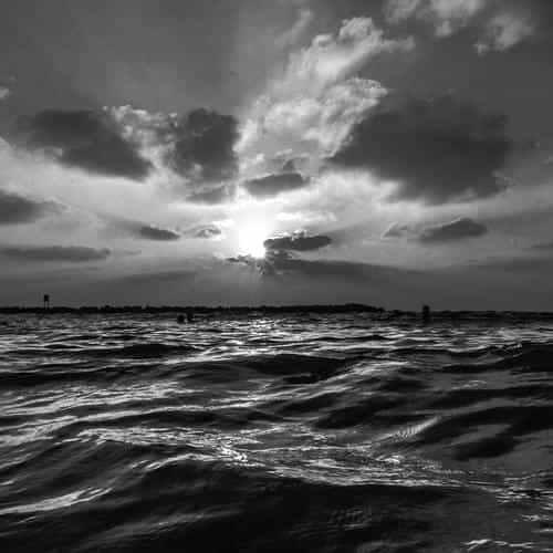 sunset sea sky ocean summer dark bw water nature