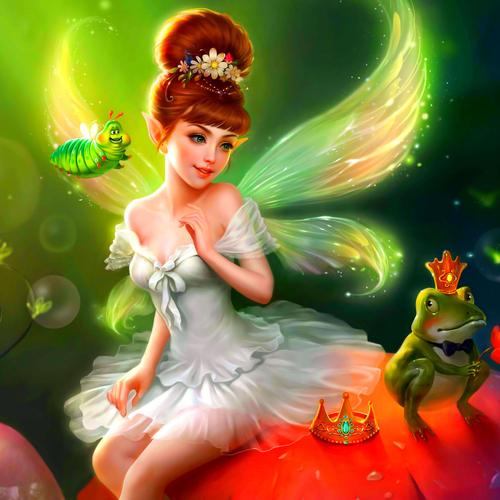Sweet little fairy painting wallpaper
