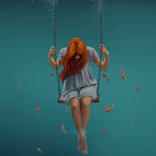 swing art painting girl dark