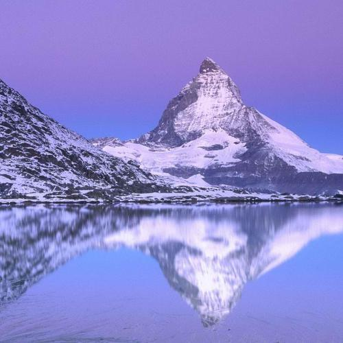 Swiss snow mountain reflection wallpaper
