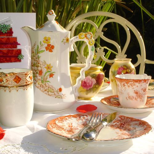 Table setting for tea party wallpaper