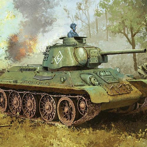Tank in the wood painting