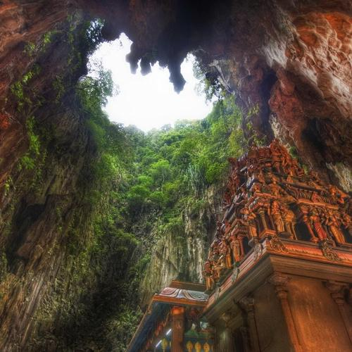 Temple Inside Circular Cave Hdr
