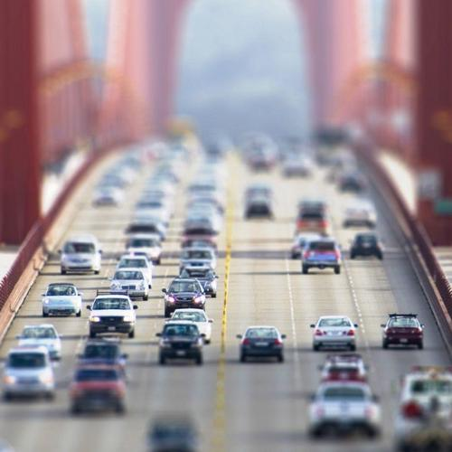 The Golden Gate Bridge in tilf shift photo