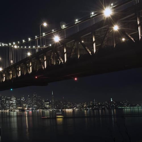 The Oakl Bay Bridge At Night