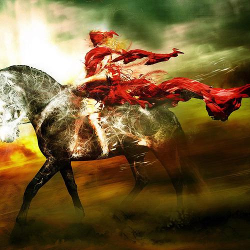 The rider in red painting wallpaper
