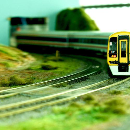 Trains in tilt shift wallpaper