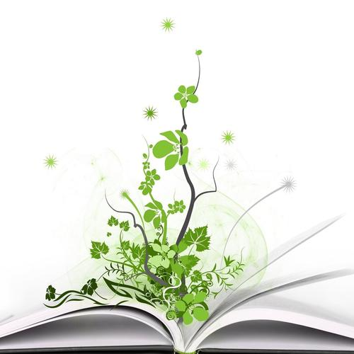 Tree grows from a book vector wallpaper