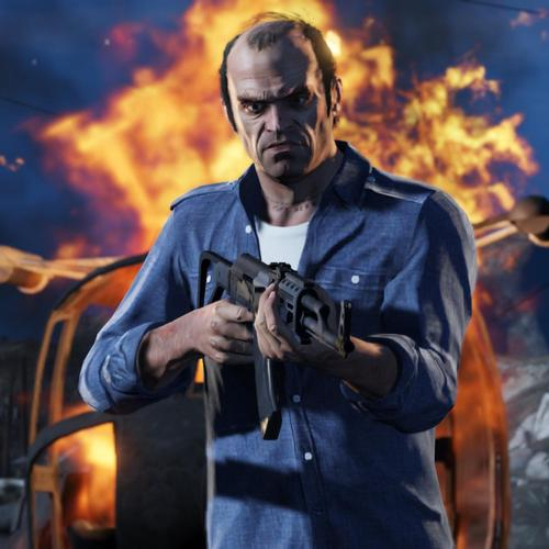 Trevor holding gun in Grand Theft Auto 5