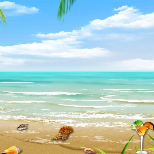 Tropical beach vector collage wallpaper