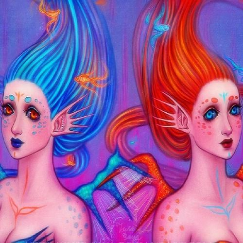 Twin mermaids wallpaper