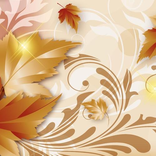 Vector golden leaves wallpaper