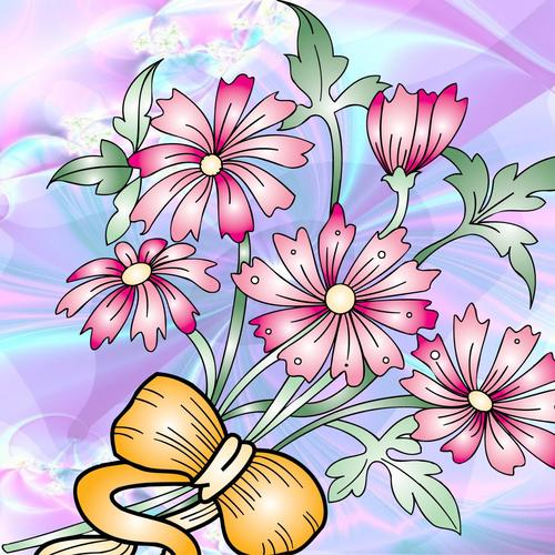 Vector pink flowers wallpaper