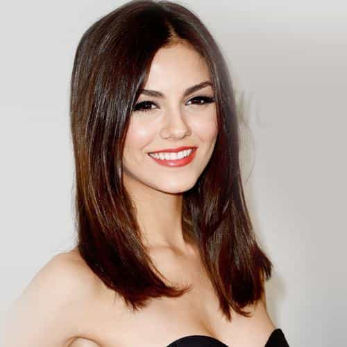 victoria justice black dress smile