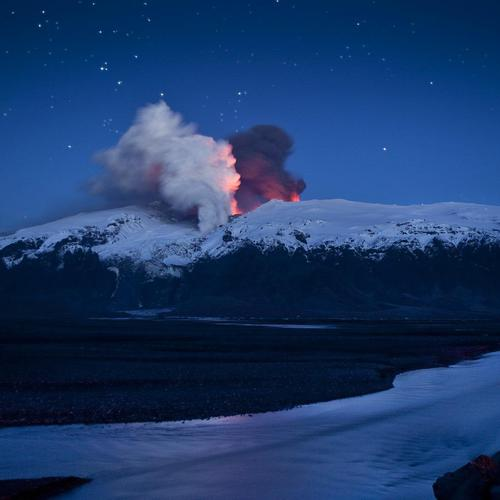 Volcano mountain in the night