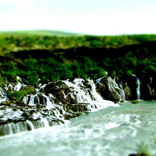 Waterfalls in tilt shift photo