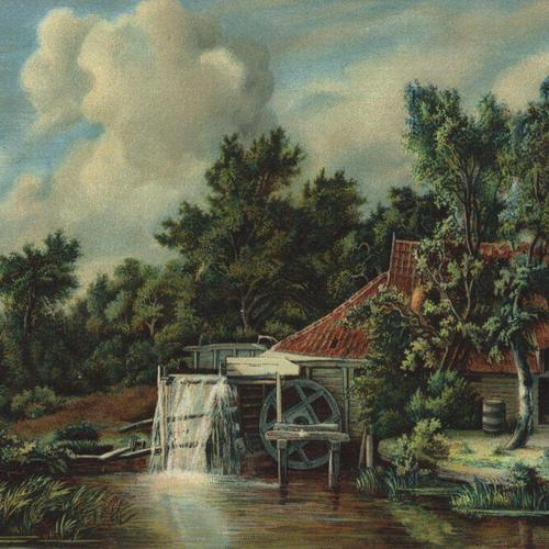 Watermill painting By Hobbema wallpaper