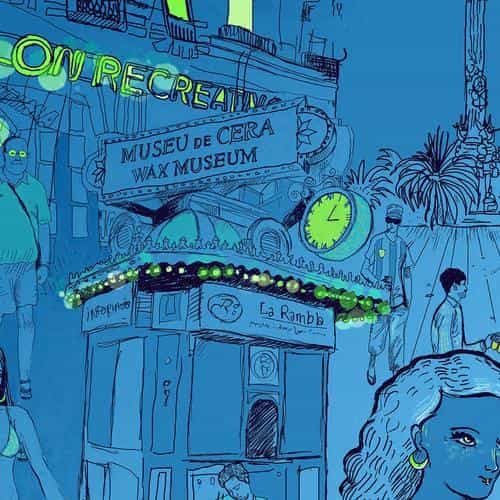 wax museum art illustration blue street