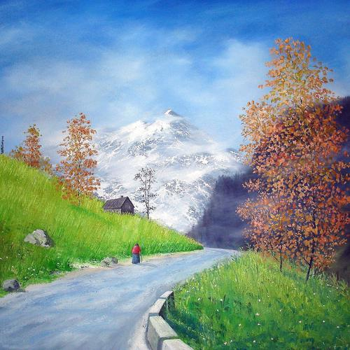 Way To Rohtang Pass painting wallpaper