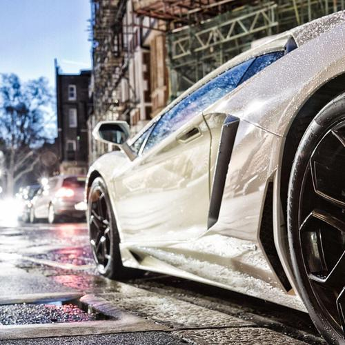 Wet white Lamborghini
