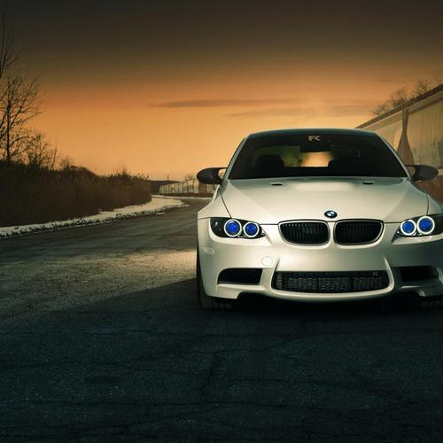 White BMW with blue eyes