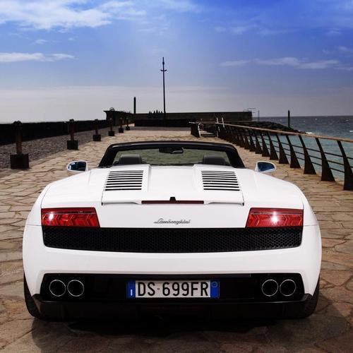 White Lamborghini Gallardo on the pier wallpaper