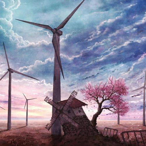 Windmills past and modern wallpaper