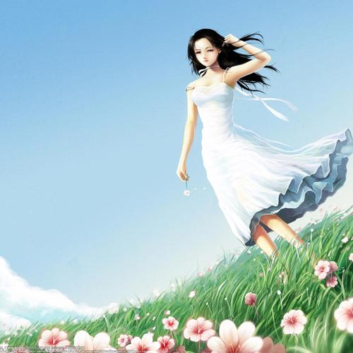 Windy day of lady in the white dress