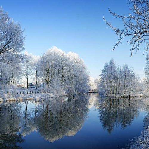 Winter At The Kromme Rijn river wallpaper