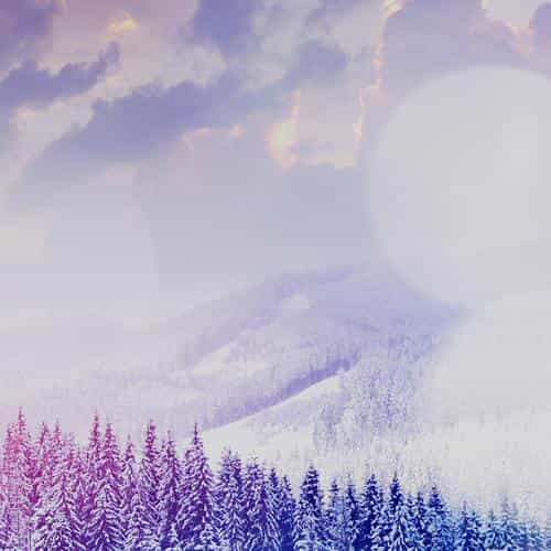 winter mountain snow white blue flare nature