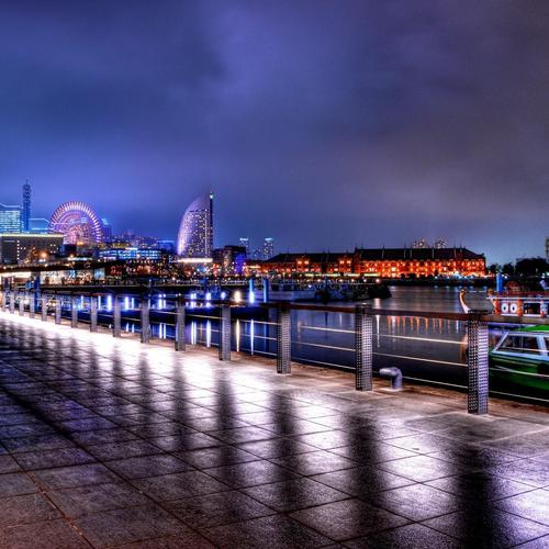 Wonderful City Waterfront At Night Hdr wallpaper