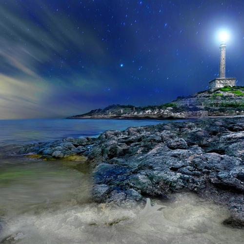 Wonterful starry lighthouse wallpaper