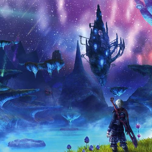 Xenoblade Chronicles - Floating rochers la nuit fonds d