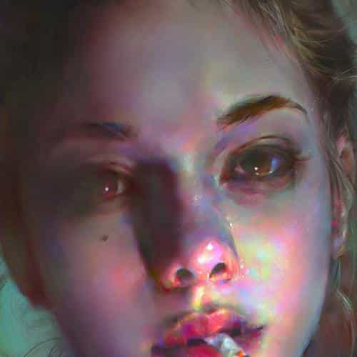 yanjun cheng paint face girl illustration art dark