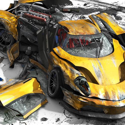 Yellow car crash wallpaper