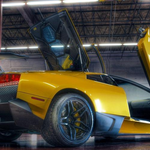 Yellow Lambroghini in a garage Hdr wallpaper