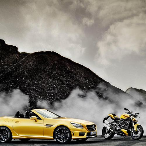 Yellow Mercedes Benz Slk 55 Amg Ducati Streetfighter 848